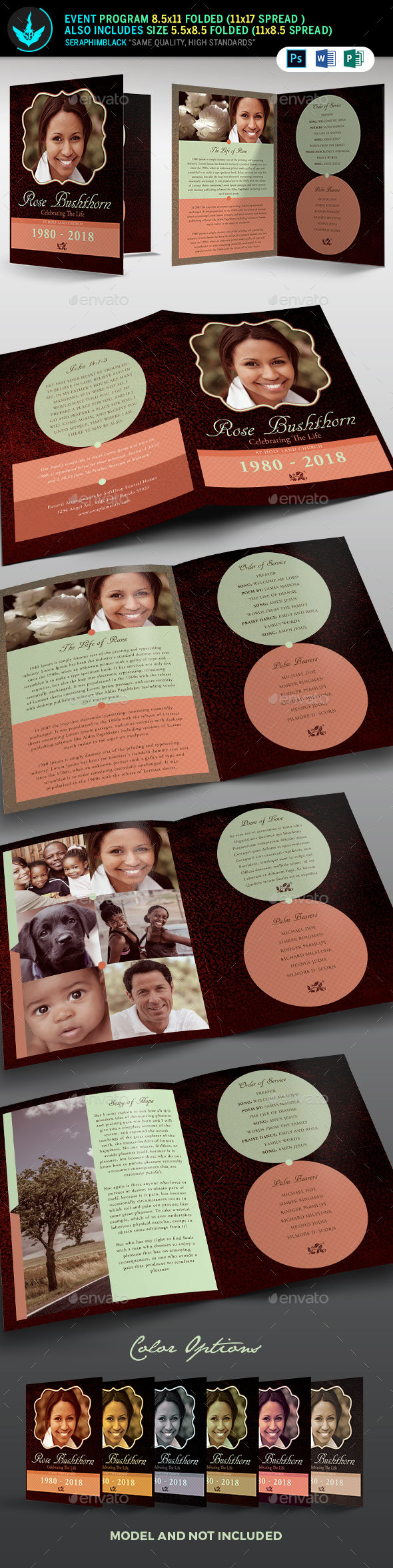 Leather Funeral Program Template 2 - Informational Brochures