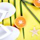 White Flip flops, Orange fruit, starfish and palm - PhotoDune Item for Sale