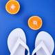 White Flip flops, Orange fruit, seashell - PhotoDune Item for Sale
