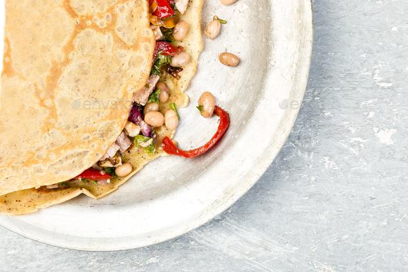 Buckwheat Pancake. Mexican Quesadilla. - Stock Photo - Images