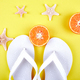 White Flip flops, Orange fruit, starfish - PhotoDune Item for Sale