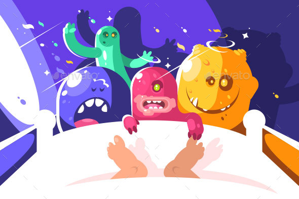 Night Monsters Bother Someone Sleeping in Bed - Miscellaneous Vectors
