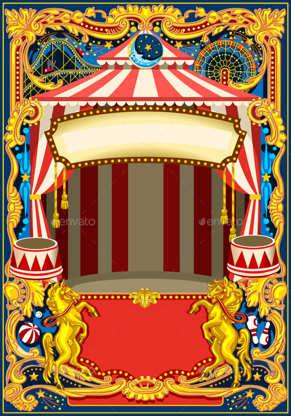 Circus Poster Vector Frame - Backgrounds Decorative
