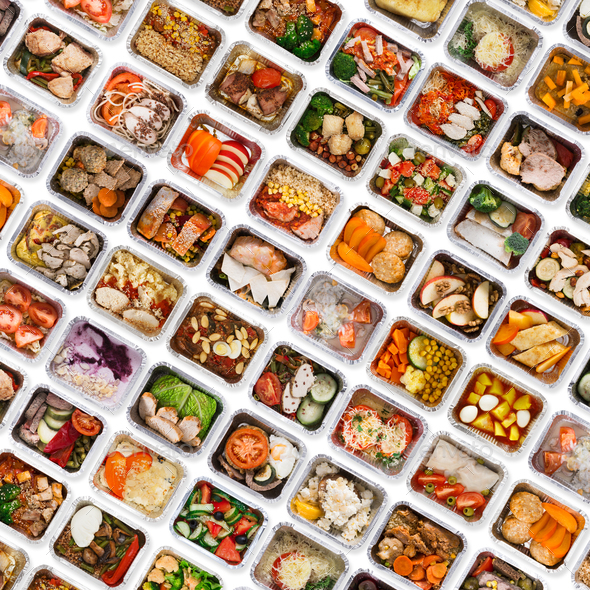 Set of take away food boxes at white background - Stock Photo - Images