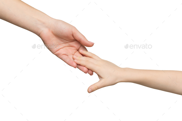 Mother and child hands isolated - Stock Photo - Images