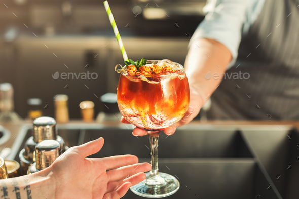 Closeup of alcohol cocktail in cafe - Stock Photo - Images