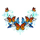 Symmetrical Pattern of Blue and Orange Butterflies