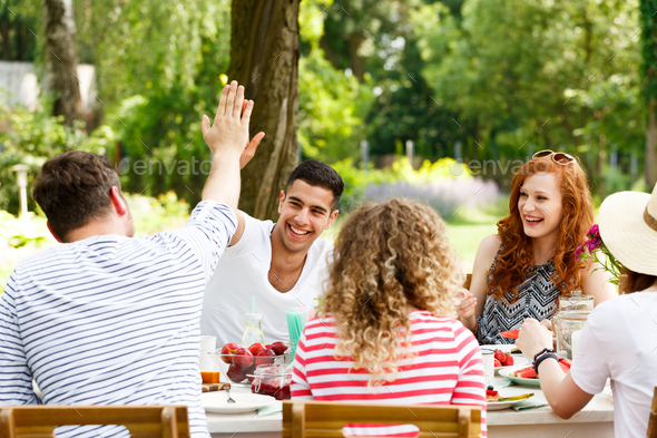 Group of young people outside - Stock Photo - Images