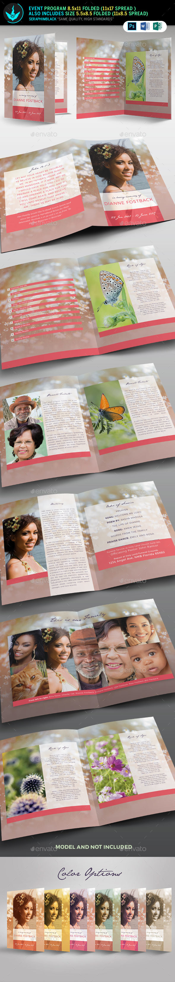 Meadow Modern Funeral Program Template - Informational Brochures