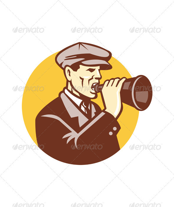 Man Shouting With Vintage Bullhorn Retro - People Characters