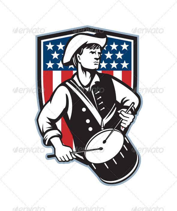 American Patriot Drummer With Flag - People Characters