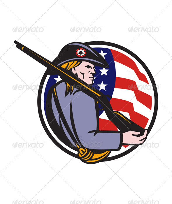 American Patriot Minuteman With Rifle And Flag - People Characters