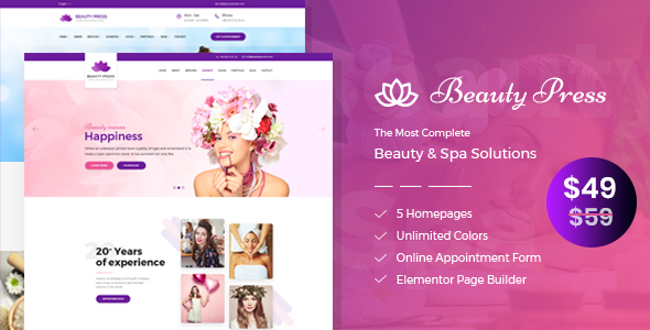 Image of BeautyPress - Beauty Salon Spa WordPress Theme