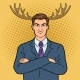 Husband Businessman with Deer Horns Pop Art Vector - GraphicRiver Item for Sale