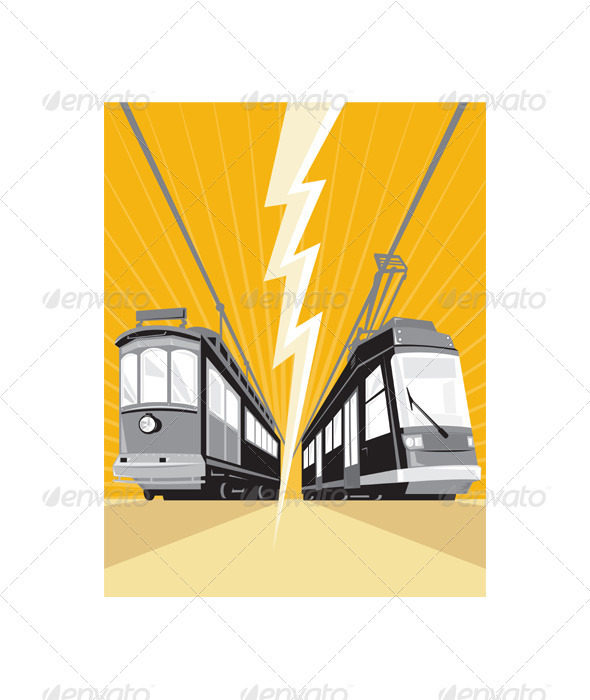 Vintage and Modern Streetcar Tram Train - Travel Conceptual