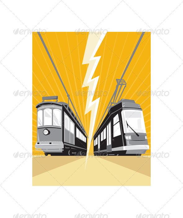 Vintage and Modern Streetcar Tram Train - Travel Conceptual