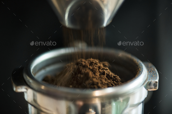 Closeup of fresh grinding coffee - Stock Photo - Images