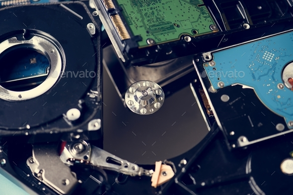Motherboard and HDD isolated on background - Stock Photo - Images