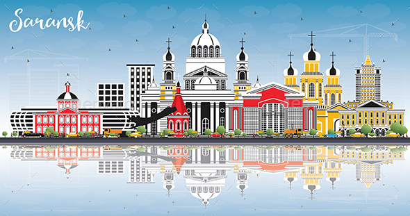 Saransk Russia City Skyline with Color Buildings, Blue Sky and Reflections - Buildings Objects