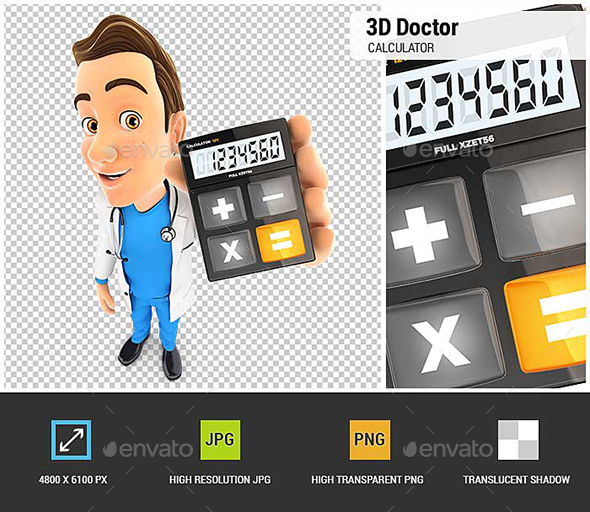3D Doctor Holding Calculator - Characters 3D Renders
