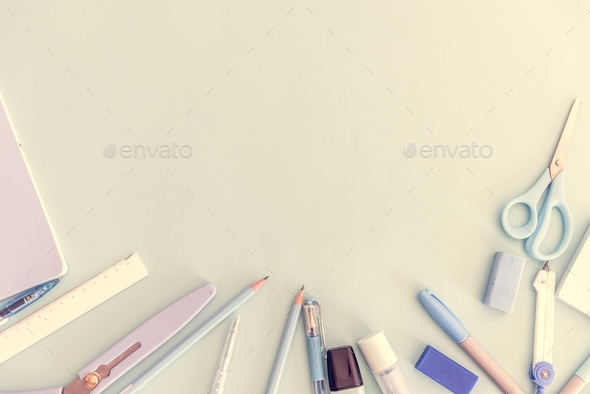 Aerial view of stationery flatlay design space - Stock Photo - Images