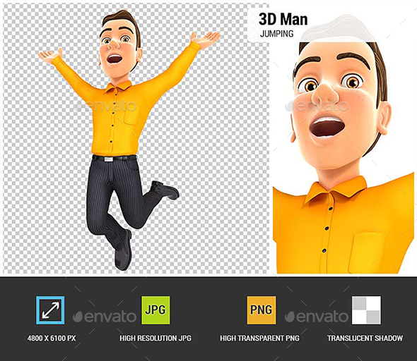 3D Man is Jumping - Characters 3D Renders