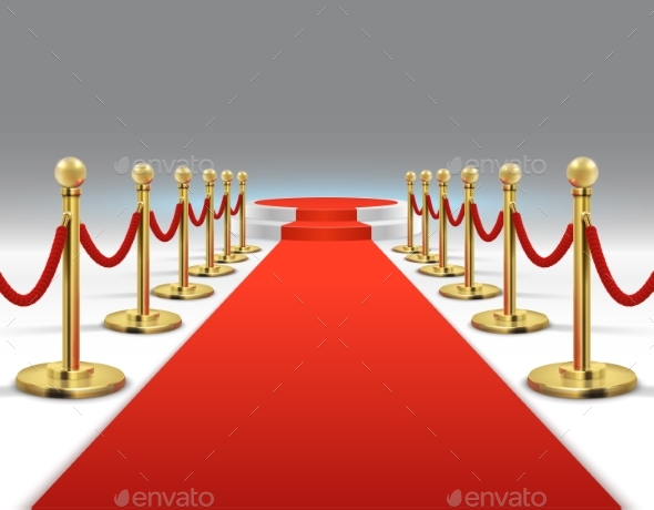 Elegant Red Carpet with Round Podium - Man-made Objects Objects