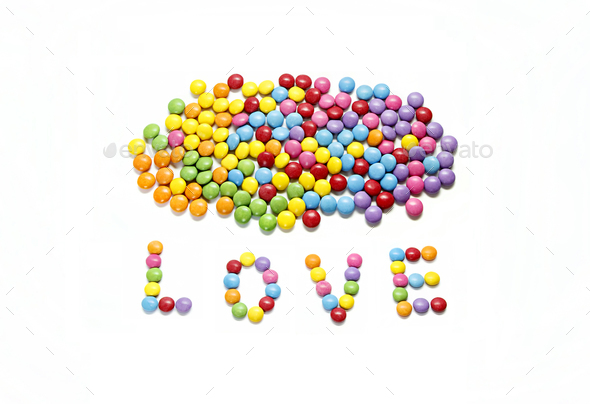 Word ''Love'' and bright colorful candy - Stock Photo - Images