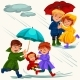 Family Walking in Rain with Umbrella