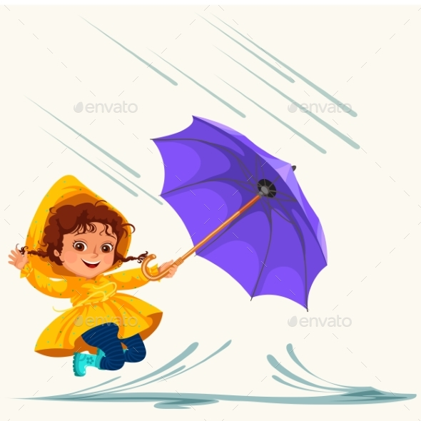 Child Walking Under Raining Sky - People Characters