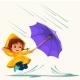Child Walking Under Raining Sky
