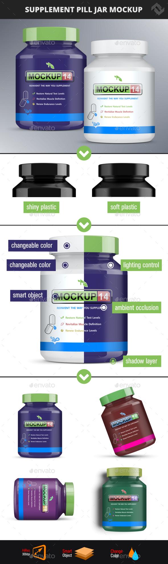 Supplement Pill Bottle Mockup - Packaging Product Mock-Ups