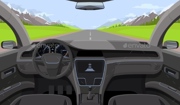 Inside Car Driver View with Rudder - Miscellaneous Vectors
