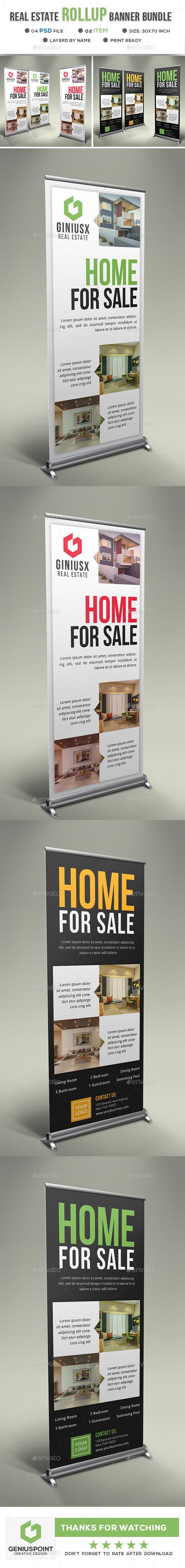 Real Estate Roll Up Banner Bundle - Signage Print Templates