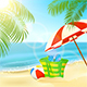 Bag and Umbrella on Summer Tropical Beach - GraphicRiver Item for Sale