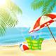 Bag and Umbrella on Summer Tropical Beach
