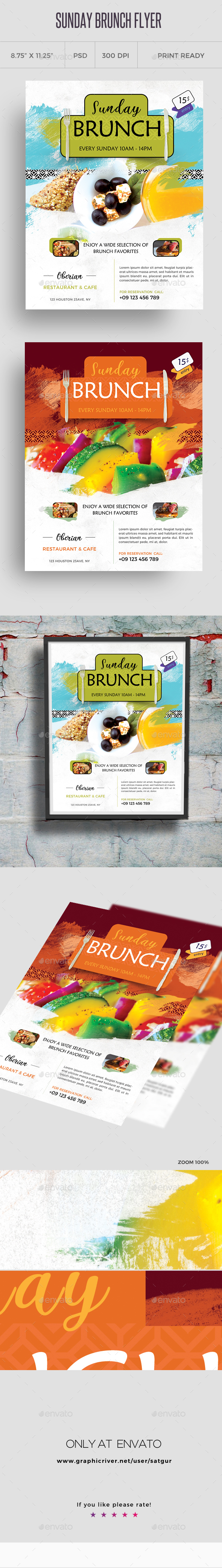 Sunday Brunch Flyer Template - Restaurant Flyers