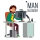 Man Blogger Vector - GraphicRiver Item for Sale