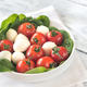 Fresh cherry tomatoes with mozzarella and spinach leaves - PhotoDune Item for Sale