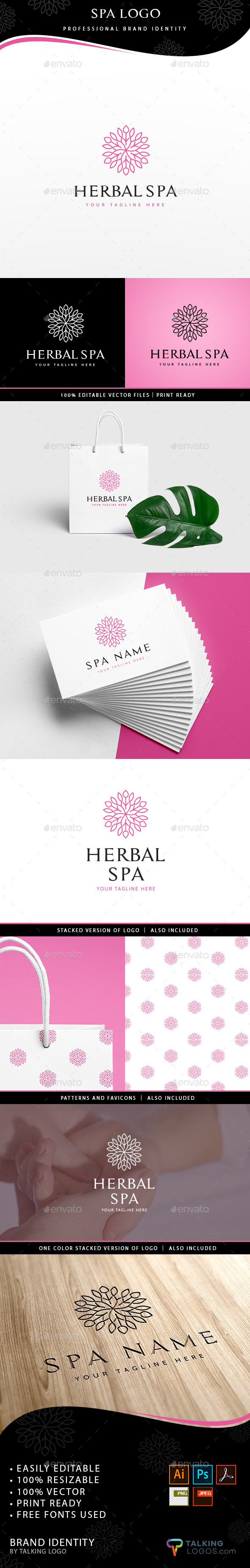 Herbal Spa Logo - Symbols Logo Templates