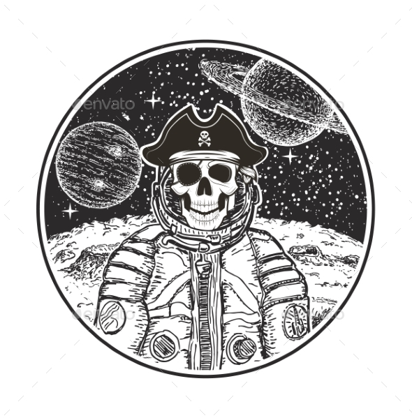 Astronaut Space Pirate Vector Modern T-Shirt - Backgrounds Decorative