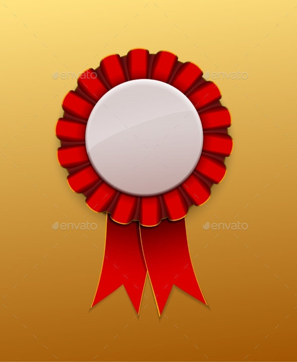 Red Ribbon Award Badge on Background - Miscellaneous Vectors
