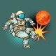 Astronaut Playing Football Mars - GraphicRiver Item for Sale