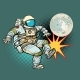 Astronaut Plays Football with the Moon - GraphicRiver Item for Sale