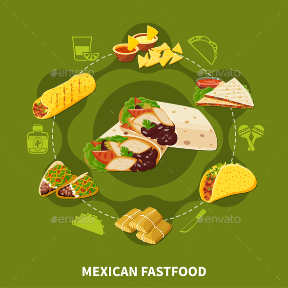 Mexican Fastfood Round Composition - Food Objects