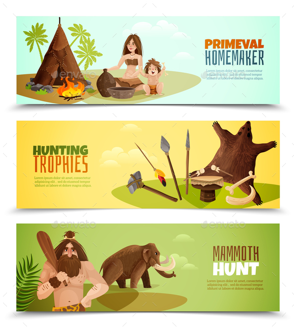 Cavemen Horizontal Banners - Animals Characters