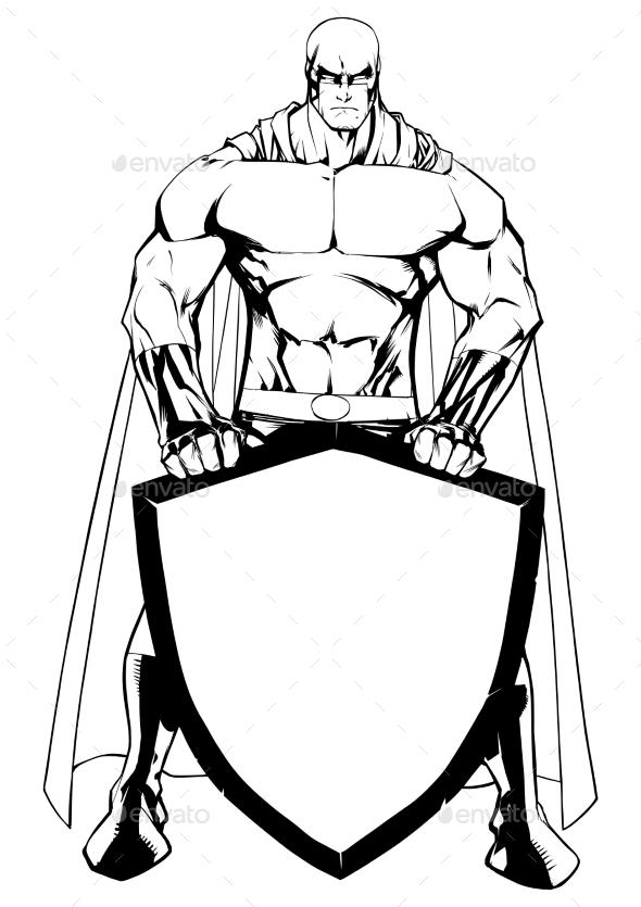 Superhero Holding Shield Line Art - People Characters