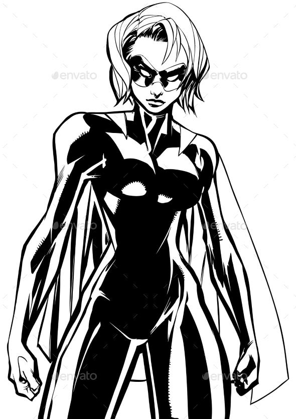 Superheroine Battle Mode Line Art - People Characters