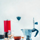 Brewing coffee in Moka pot. Morning coffee with cookies concept with copy space - PhotoDune Item for Sale