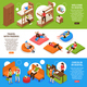 Hostel Horizontal Isometric Banners - GraphicRiver Item for Sale